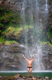 Male waterfall hawaii Stock Image
