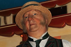 Male waxwork fairground/circus worker Stock Images