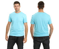 Male wearing blank light blue shirt Royalty Free Stock Photo