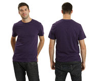 Male wearing blank purple shirt. Young male with blank purple t-shirt, front and back. Ready for your design or logo Royalty Free Stock Photo