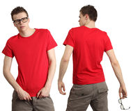 Male wearing blank red shirt. Young male with blank red t-shirt, front and back. Ready for your design or logo Royalty Free Stock Photo