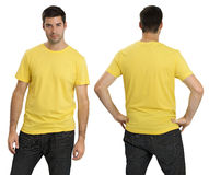Male wearing blank yellow shirt stock photography