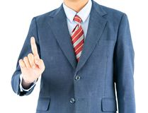 Male wearing blue in suit reaching hand out with clipping path. Close up, Male wearing blue in suit and red tie reaching hand out isolated with clipping path stock photography