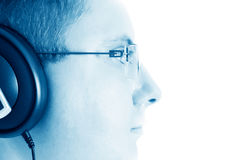 Male wearing head phones Stock Photo