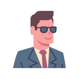 Male Wearing Sunglasses Emotion Icon Isolated Avatar Man Facial Expression Concept Face. Vector Illustration Royalty Free Stock Image