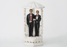 Male wedding couple topper. Wedding cake topper with two men Royalty Free Stock Image