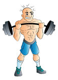 Male Weightlifter, illustration. Bald Male Weightlifter,  illustration Royalty Free Stock Photography