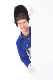 Male welder holding placard Royalty Free Stock Photos