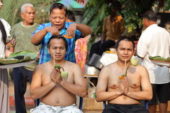 Male who will be monk cut hair for be Ordained. NAKHON RATCHASIMA, THAILAND-APRIL 12: Male who will be monk cut hair for be Ordained to new monk on April 12 Royalty Free Stock Photo