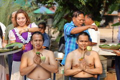 Male who will be monk cut hair for be Ordained. NAKHON RATCHASIMA, THAILAND-APRIL 12: Male who will be monk cut hair for be Ordained to new monk on April 12 Stock Photo