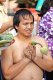 Male who will be monk cut hair for be Ordained Royalty Free Stock Photo