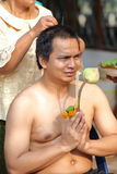 Male who will be monk cut hair for be Ordained. To new monk Royalty Free Stock Photo
