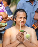 Male who will be monk cut hair for be Ordained. To new monk Stock Photos