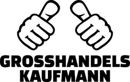 Male wholesaler thumbs german. Male wholesaler or merchant thumbs german Stock Photo