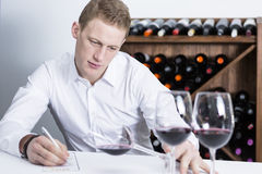 Male winemaker examining a wine glass Stock Photos