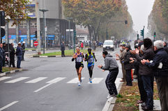 The male winner of the Turin Marathon 2010 Royalty Free Stock Images