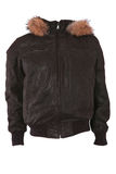 Male winter jacket with fur. Isolated on white Royalty Free Stock Photography