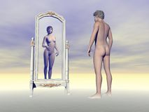 Male wishing of being female - 3D render Royalty Free Stock Photos