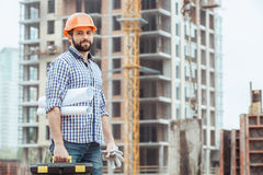 Male work building construction engineering occupation project. Male work building construction engineering occupation carry blueprint Royalty Free Stock Images