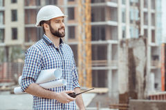 Male work building construction engineering occupation project. Male work building construction engineering occupation carry blueprint Royalty Free Stock Photography