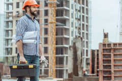 Male work building construction engineering occupation project. Male work building construction engineering occupation carry blueprint Royalty Free Stock Photos