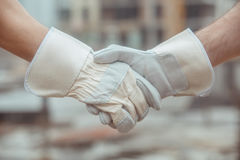 Male work building construction engineering occupation project. Male work building construction engineering occupation handshake Stock Photography