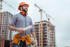 Male work building construction engineering occupation project. Male work building construction engineering occupation holding blueprint Stock Image