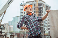 Male work building construction engineering occupation project. Male work building construction engineering occupation holding wooden board Royalty Free Stock Image
