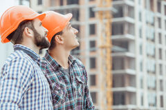 Male work building construction engineering occupation project. Male work building construction engineering occupation looking up Royalty Free Stock Photo