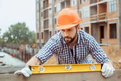 Male work building construction engineering occupation project. Male work building construction engineering occupation measure Royalty Free Stock Photos