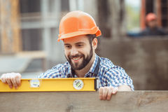 Male work building construction engineering occupation project. Male work building construction engineering occupation measure Stock Photos