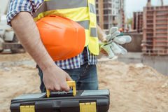 Male work building construction engineering occupation project. Men work building construction engineering occupation close-up Royalty Free Stock Images