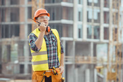 Male work building construction engineering occupation project. Male work building construction engineering occupation radio set Stock Photo