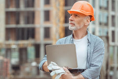 Male work building construction engineering occupation project. Male work building construction engineering occupation using digital device Stock Photography