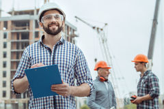 Male work building construction engineering occupation project. Male work building construction engineering occupation writing Stock Images