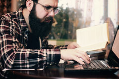Male work notebook bearded Royalty Free Stock Photo
