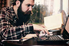 Male work notebook bearded Stock Image