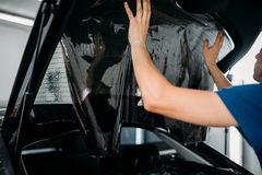 Male worker applying car tinting film Stock Photography