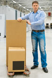 Male worker. Male worker with boxes at warehouse Stock Image
