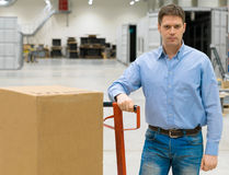 Male worker. Male worker with boxes at warehouse Royalty Free Stock Photo