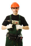 Male worker with an electric dril. L on a white background Stock Photo