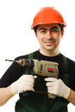 Male worker with an electric dril. L on a white background Stock Photography