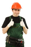 Male worker with an electric dril. L on a white background Royalty Free Stock Photography
