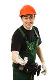 Male worker with an electric dril Royalty Free Stock Images