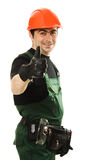 Male worker with an electric dril. L on a white background Stock Images
