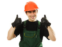 Male worker with an electric dril. L on a white background Royalty Free Stock Image