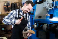 Male worker fixing failed shoes in shoe repair workshop. Smiling italian male worker fixing failed shoes in shoe repair workshop Royalty Free Stock Photos