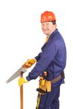 Male worker with hand saw. Stock Images