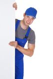 Male worker holding blank placard Stock Photos