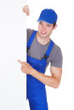 Male Worker Holding Blank Placard Royalty Free Stock Photos